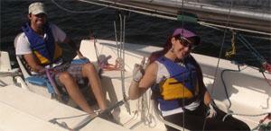 Bruno e Elaine em seu barco
