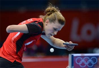 Polonesa Natalia Partyka durante os Jogos Olímpicos