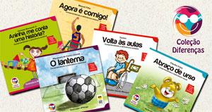 Capas dos cinco livros infantis impressos em fonte ampliada e braille