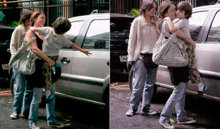Bel Kutner com o filho Davi no colo entrando no carro