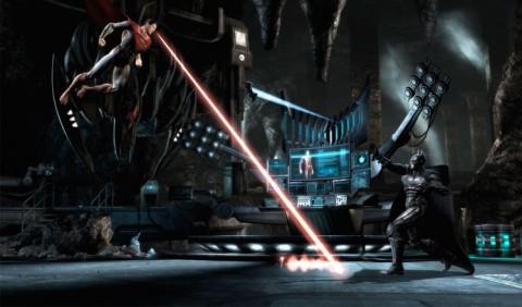 Super Homem lança raio laser dos olhos contra Batman