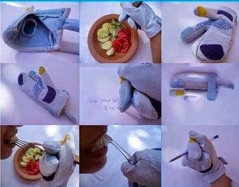 Nove fotos quadradas, formando um mosaico de imagens, mostrando uma luva para tetraplégicos, uma pessoa cozinhando com a luva, escrevendo, comendo e escovando os dentes