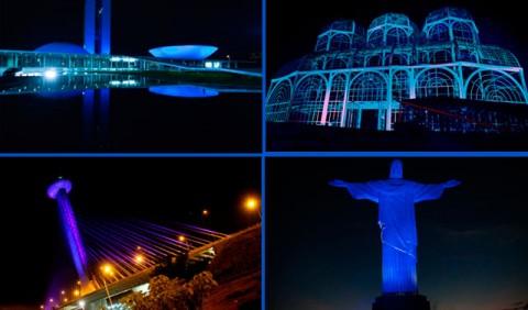 Senado Federal (DF), Jardim Botânico (RJ), Ponte Estaiada (SP) e Cristo Redentor (RJ) pintados de azul