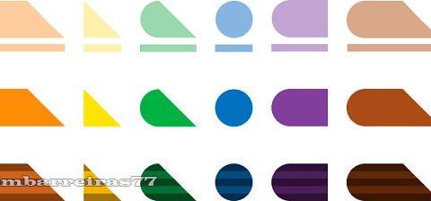 Vinte e quatro objetos geométricos, em alto relevo, representando as cores