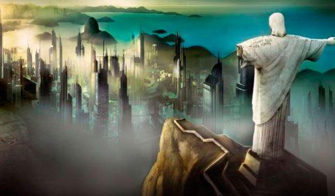 Imagem aérea do Rio de Janeiro, com o Cristo Redentor à direita, com o braço esquerdo quebrado. À esquerda, a cidade cinzenta, envolta por uma névoa densa