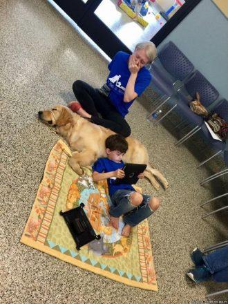 Garotinho autista deitado em um tapete, com a cabeça em um cachorro, e uma mulher atrás dele, chorando com a mão na boca