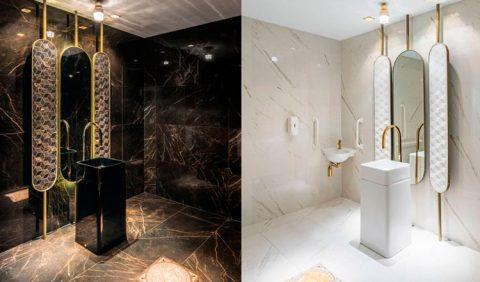 Duas fotos verticais de um banheiro acessível, lado a lado, uma em cores escuras (à esq) e outro todo branco, mostrando espelho, pia e lavabo