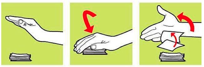 Três desenhos, lado a lado. No primeiro, à esq, mostra uma mão em forma de concha e uma pilha de figurinhas abaixo dela; no segundo, a mão está em cima das figuras e uma sete vermelha para baixo, sinalizando movimento; na terceira, a mão está de lado e algumas figuras voando