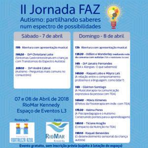 Arte em azul do Cartaz da II Jornada FAZ: Partilhando saberes num espectro de possibilidades, que se realizará nos dias 7 e 8 de abril, com a programação do evento e as logomarcas da Associação Fortaleza Azul e do RioMar Kennedy